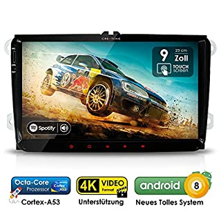 Autoradio Android 8.0 AWS-9900 für VW / Skoda / Seat | GPS Navigation (Europa-Karten) | 9 Zoll Touch | DAB+ | USB l Octa-Core | 4K Ultra HD Video | WLAN | Bluetooth (iOS u. Android) | MirrorLink | RDS