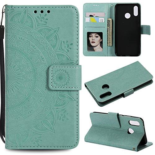 HTDELEC Huawei P20 Lite Hülle, Ultra Slim Flip Hülle Grün Etui mit Kartensteckplatz und Magnetverschluss Leder Wallet Klapphülle Book Case Bumper Tasche für Huawei P20 Lite(T-Grün)
