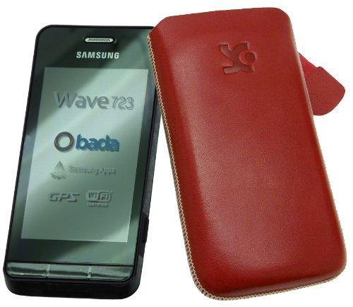 Original Suncase Echt Ledertasche (Lasche mit Rückzugfunktion) für Samsung Wave 723 GT-S7230 in rot