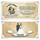 50 x Hochzeit Danksagungskarten Dankeskarten individuell - Vintage Brautpaar in Weiß