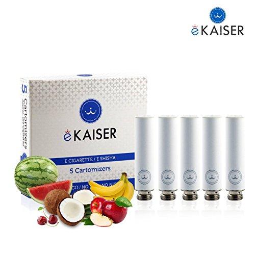 E-Zigarette | E-Liquid 5er Pack Weiß Cartomizer | Frucht-Mix | E-Shisha | für eKaiser Wiederaufladbar E-Shisha Zigarette (Apfel, Blaubeere, Kirsche, Pfirsich, Erdbeere)