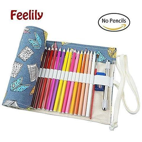 Feelily le plus élégant Canvas Pencil Wrap, 72 coloré Porte Crayon polyvalent Pochette pour Artiste (Crayon non inclus) (Blue Reverie)