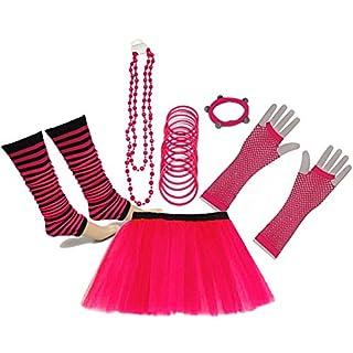 A-Express 80er Damen Neon Tütü Rock Beinstulpen Fischnetz Handschuhe Tüll Fluo Ballett Verkleidung Party Tutu Rock Kostüm Set (36-44, Rosa)