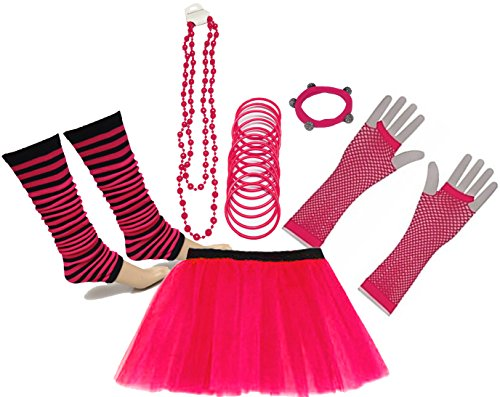 A-Express 80er Damen Neon Tütü Rock Beinstulpen Fischnetz Handschuhe Tüll Fluo Ballett Verkleidung Party Tutu Rock Kostüm Set (46-54, - Party Express Kostüm