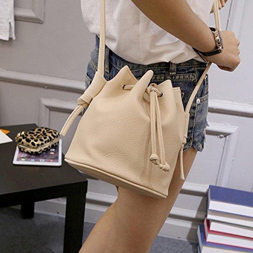 Bluelans moda donna in pelle sintetica semplice disegno stringa Crossbody spalla Borsa secchiello, Similpelle, Black, 20cm x 19cm x 14cm/7.87 x 7.48 x 5.51 Beige