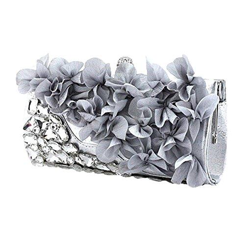 Le Donne Con Borchie Strass Petali Borsette Da Sera Butilico Colori Pochette Silver