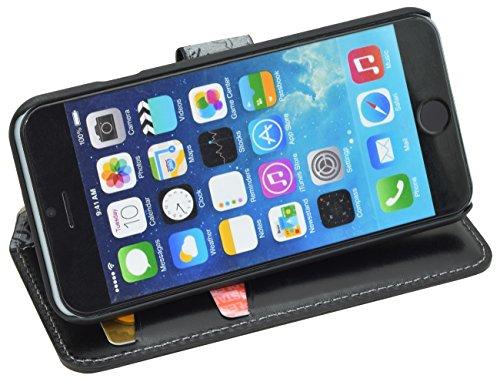 Suncase original Étui pour iPhone 6/6S (4,7 pouces), étui en cuir ultra slim et style livre avec rabat et housse arrière, top 10couleurs noir