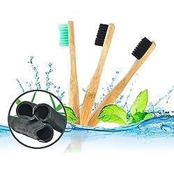 aushen carbón cepillo de dientes cepillo de dientes de bambú niños y adultos traje para cepillo de dientes Holder 3pcs Set