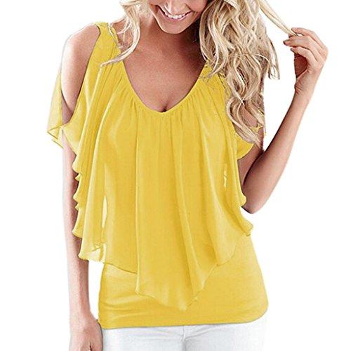 iHENGH Mode Damen lose Kalte Schulter Fledermaus Ärmel Tops Bluse Shirt Sommer Casual T-Shirt(Medium,Gelb)