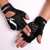 Tofern Unisex Handschuhe halbfinger Lycra fluoreszierend Muster für Skateboard Skate, Mit Handgelenk L (Handflächebreite 8-9cm)