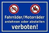 Schild - Fahrräder / Motorräder anlehnen oder abstellen verboten - 30x20cm mit Bohrlöchern | stabile 3mm starke Aluminiumverbundplatte – S00050-048-F +++ in 20 Varianten erhältlich