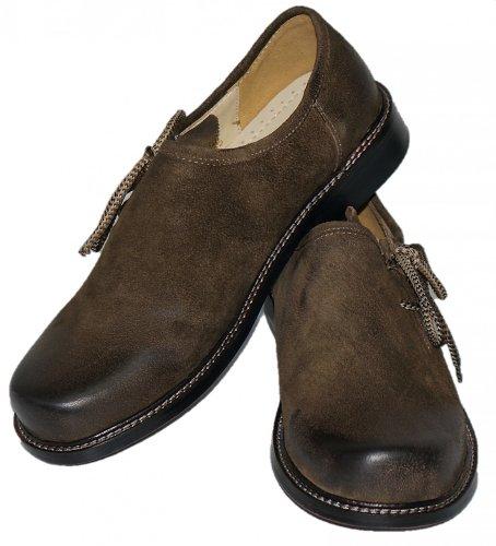 Trachtenschuhe Herren Haferlschuhe Trachten-Schuhe Leder braun antik Ledersohle Schnürschuhe Tanzschuhe Lederschuhe Glatte Sohle für Tänzer Plattler zur Lederhose zum Tanzen, Größe:48 - 2
