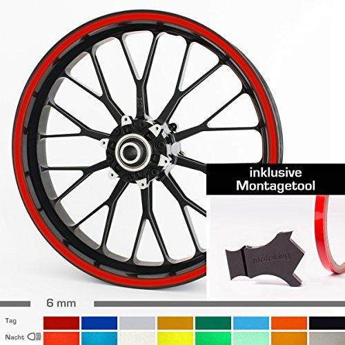 Motoking Felgenrandaufkleber mit Montagetool für Ihr Motorrad in SCHWARZ REFLEKTIEREND / 6 mm / für 10
