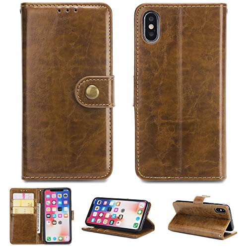 FugouSell iPhone X Case, [ Portable Wallet ] [ Slim Fit ] Heavy Duty Protective Girls Flip Cover Wallet Case for iPhone X - Brown