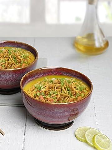 Diwali Gifts, Handmade Set of 2 Pink Ceramic Soup Bowl Studio Pottery for Supper Noodles Cereal with Drip Glazed Design Mug Cup Serveware
