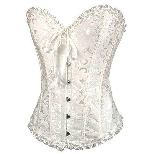 Moon Angle Frauen schnüren sich oben Boned Plus Size Overbust Korsett Bustier Bodyshaper Top Weiß