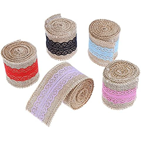 ccinee 10Yards Multicolor cinta de 2pulgadas de ancho de cinta de encaje de arpillera natural (2Yard Cada
