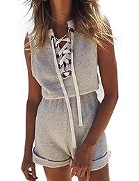 Donna Tuta Elegante Sport Casual Jumpsuit Tutine Intere Estive Corte Chic Ragazza  Senza Maniche Moda Giovane 25098d3f246