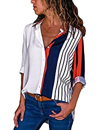 Guesspower Chemisier Femme Manches Longues Tunique Button Up Shirt Rayé  Chemise Col V Top Blouse Mode Multicolore Chic Chemisier… 7067a5b8b81