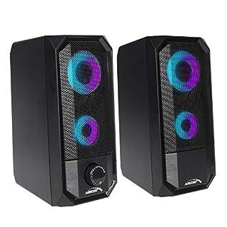 Audiocore AC845 Bluetooth LED-Hintergrundbeluchtung Stereo PC-Lautsprecher 10W RMS USB-Stromversorgung Kompakt, Schwarz