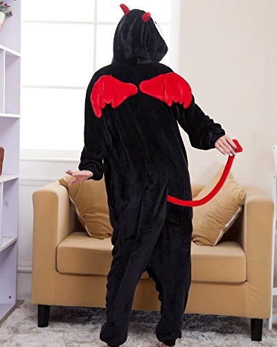 Minetom Unisexe Hiver Anime Halloween Cosplay Adulte Pyjama Onesie Cospaly Party Fleece Costume Tenue Chaussons Doux Chaussures Pour Adultes Patte Peluche Pantoufles Demon