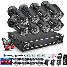 SANNCE Kit sistema de seguridad 8 cámara de vigilancia(H.264 Onvif P2P 8CH DVR 720P y 8 cámaras CCTV 1.0MP IP66 Impermeable)-1TB Disco duro de vigilancia