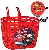Unbekannt 2 TLG. Set: Fahrradkorb / Korb + Fahrradklingel -  Disney Cars Lightning McQueen  - mit Befestigung für Lenker vorn - universal auch für Roller und Dreirad ..