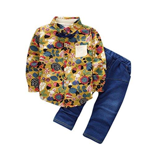 Baby Langarm shirt Hirolan Kinder t shirt Bedrucken Kleinkind Blumen Hemd Kinder Denim Hose Baby Strampler Junge Abdrehen Halsband Tops Outfits Kleider Set (90cm, (Denim Kostüm Romper)