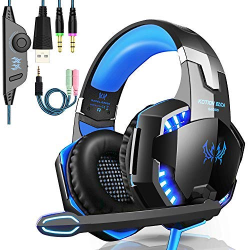 G2000 Gaming Headset, Tsing Professionelle Gaming Kopfhörer mit Mikrofon, 3.5mm On Ear Surround Sound Ohrhörer mit Bass-Stereo Lautstärkeregelung für PC Laptop Tablet Mobile Phones Blau Wireless-pc Stereo