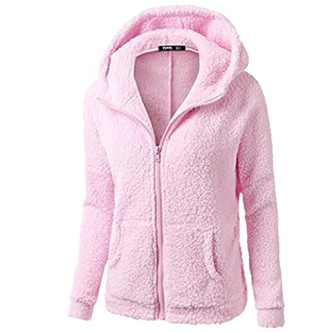 Damen Kapuzenpullover Sweatshirt Jacke Mantel Winter Wolle Pullover Kleidung Frauen Lange Pullover Blusen Tops Von Xinan (XXXXL, Rosa)