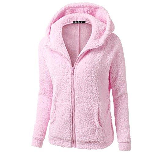 Xinan Damen Kapuzenpullover Sweatshirt Jacke Mantel Winter Wolle Pullover Kleidung Frauen Lange Pullover Blusen Tops (M, Rosa) (Wolle Winter Mantel)