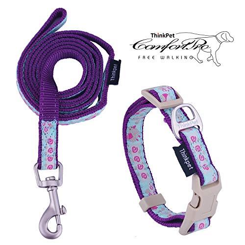 ThinkPet Hundehalsband & Hundeleine im Set - Haustier Halsband aus strapazierfähigem Nylon für kleine Hunde Welpen Walking/Wandern -