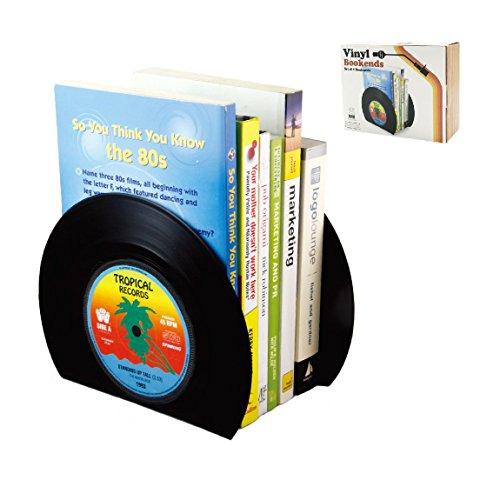 ourlove Fashion 2x Retro registro de CD vinilo sujetalibros Vintage sujetalibros Soporte casa suministros de oficina arte regalo