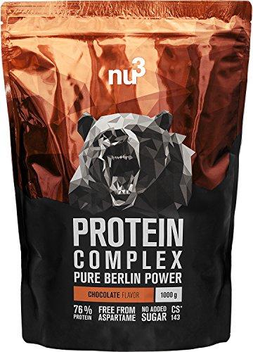 nu3 Proteine del Siero del Latte e Uovo in Polvere 1KG | Whey Protein Buona Solubilità Gusto Cioccolato | Complesso Proteico 76% di Proteine | Oltre 5,1g BCAA per Porzione Punteggio Chimico 143