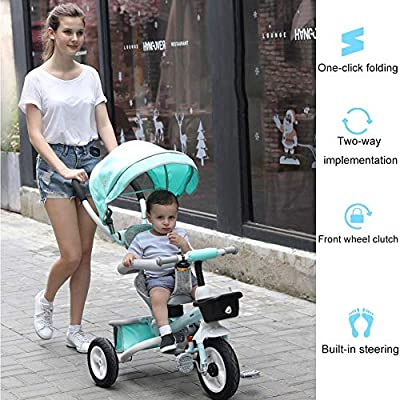 BGHKFF 4 In 1 Childrens Folding Tricycle 12 Months To 6 Years 360° Swivelling Saddle Children's Pedal Tricycle Folding Sun Canopy Adjustable Handle Bar Child,Blue