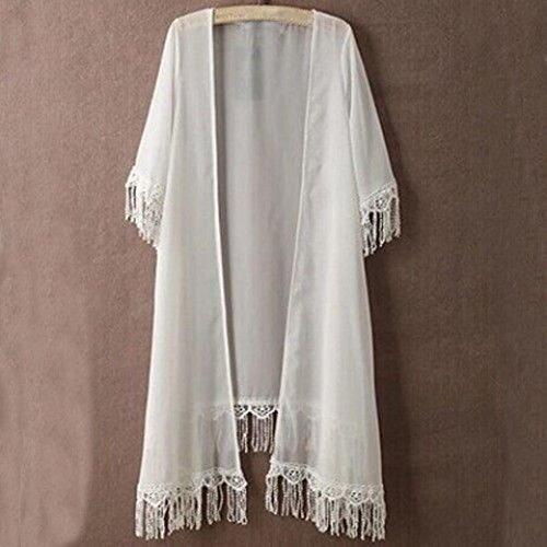 FEITONG Frauen Kurzarm Tassel Chiffon Tops Schals Kimono Weiß