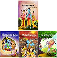 Ramayana, Bhagvad Gita & Mahabharata with Panchatantra Stories for Children (Set of 4 Premium Quality Bo