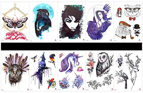 Interookie 10pcs tatuaggi adesivi tatuaggi temporanei gatto in un imballaggio, disegni misti come lady con ali, angelo, tiger