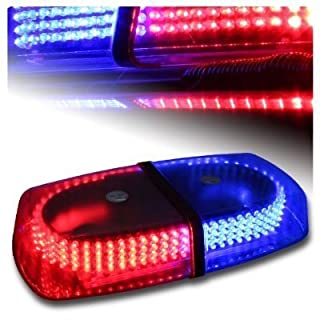 Aurnoc LED Amber helles 240-LED Stroboskop Blitzlicht für das Auto LKW Konstruktion Warnaufsteller Notfall Blitzmodi 7 Sicherheit Red& Blue