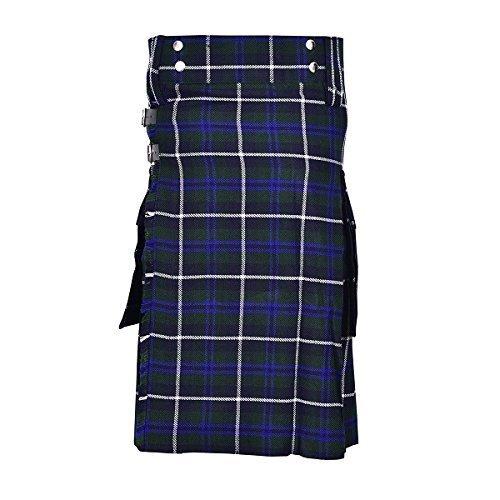 SHYNE KILTS U.K Douglas Blau Herren Mode Sport SCHOTTENKARO Utility Kilt Deluxe Kilt verstellbar Größen Tasche Kilt - Douglas blau, 30
