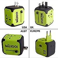 Adaptateur de Voyage avec 2 USB Adaptateur Universel Pris de Courant pour UE/US /UK /AUS Utilisé dans plus de 150 pays Adaptateur Chargeur avec deux fusible(fusible de rechange)-Vert-MILOOL