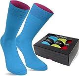 normani 3 Paar Multicolor Socken Bunte Strümpfe für Damen und Herren Farbe Türkis/Rot/Limette Größe 43/46