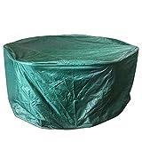 Ballery Abdeckung Gartenmöbel, Runden Gartentisch Abdeckung Möbelschutz Winterfest Wasserdicht Schutzhülle UV Schutz Dunkelgrün (188x84cm)