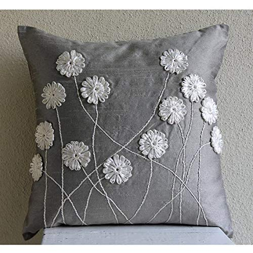 Luxus Grau Shams, Band-Blume Kissen Shams, 60X60 Cm Kissen Shams, Seide Shams, - Floral Whispers -