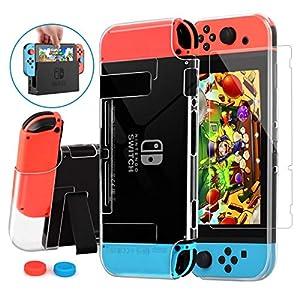 HEYSTOP Nintendo Switch Hülle mit Schutzfolie,Transparent Schutzhülle für Nintendo Switch Zubehör mit Switch Schutzfolie und Griff Cover Case Stoßdämpfung und Anti-Scratch