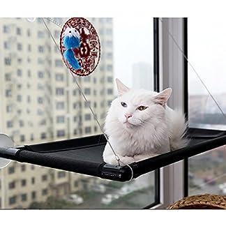 CONMING Cat Window Perches, Window Mount Resting Hammock with Blanket Kitty Sunny Seat Cradle Mat Pet Bedding & Mounted Lounge Animal Window Seat Nest 511MtX2hkoL