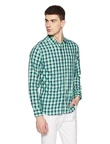Amazon Brand- Symbol Checkered Regular Fit Casual Shirt (SS18-SMCS-126_Biking Green_Medium)