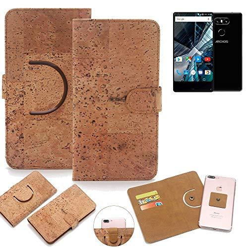 K-S-Trade Schutz Hülle für Archos Sense 55 S Handyhülle Kork Handy Tasche Korkhülle Schutzhülle Handytasche Wallet Case Walletcase Flip Cover Smartphone