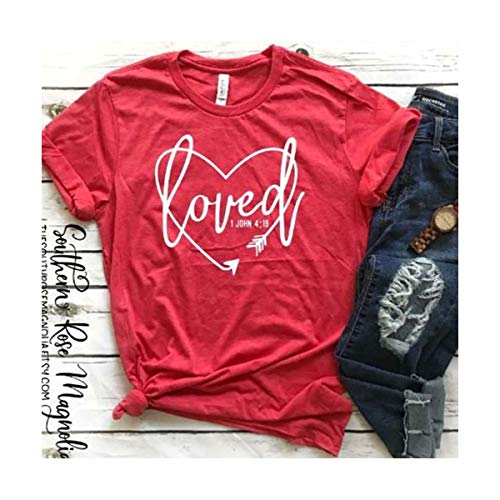 2019 Summer T-Shirts for Women Fashion Tee Top Loved Red Heart Printed Short Sleeve Female T-Shirt Women Tops Jesus Tops Drop Red S - Jesus Youth Sweatshirt