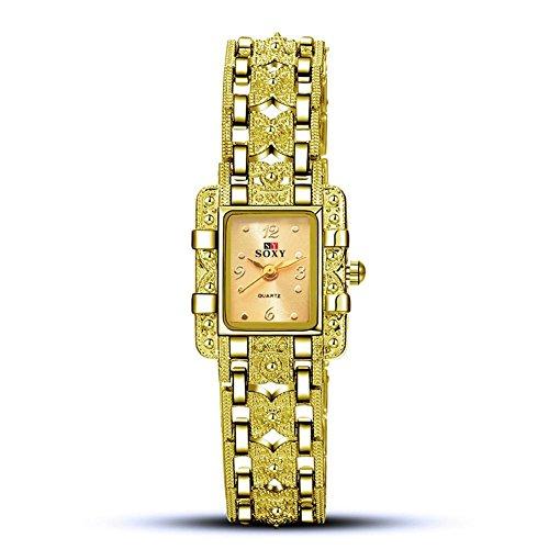 XXFFH Reloj Casual Digital Mecánica Solar Las Señoras Alean El Reloj Ordinario De La Pulsera Del Espejo De Cristal , Golden Face